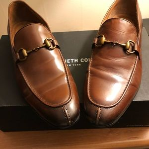 Light Brown Kenneth Cole Slip On Horse Bit Loafers